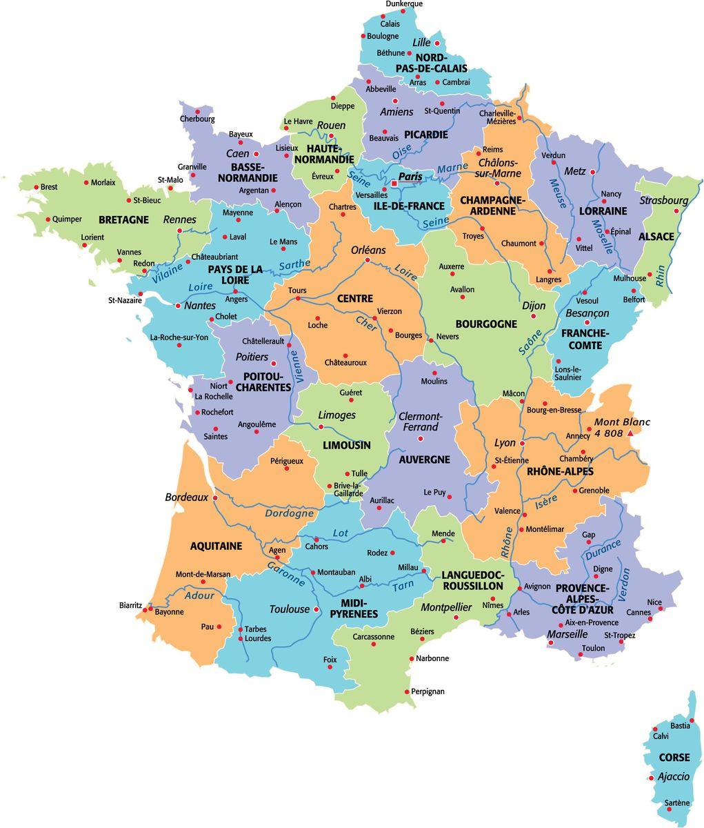 法国本土大区及主要城市地图