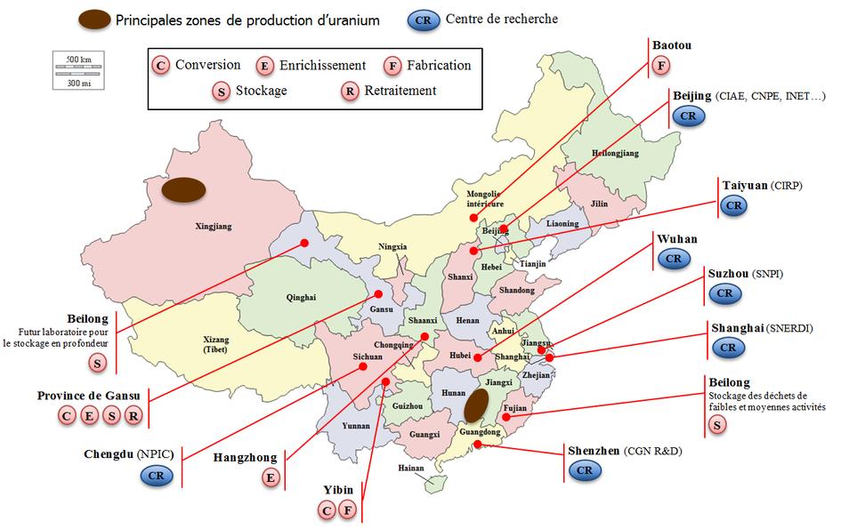 Fabuleux Carte des installations nucléaires chinoises - La France en Chine XR19